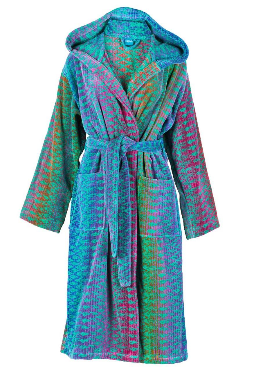 Designbadjas in groen-blauw-lila-roze ikatmotief met capuchon van Elaiva-0