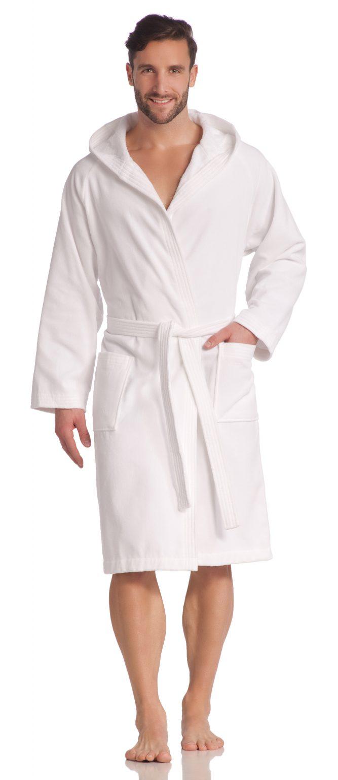 Witte badjas met capuchon, saunabadjas van Vossen-0
