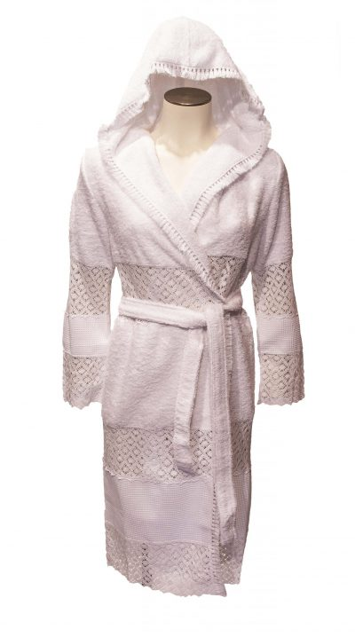 Witte opengewerkte damesbadjas met capuchon van Luna di Giorno-0
