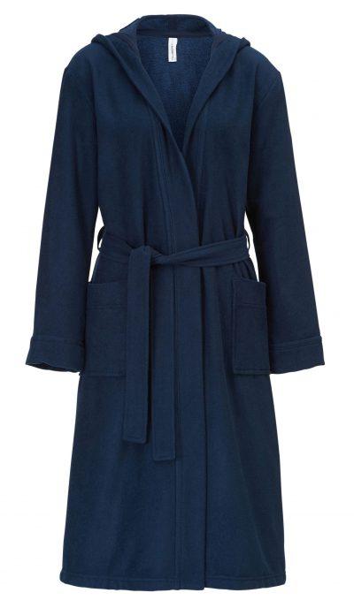 Zachte donkerblauwe uniseks badjas met capuchon van Taubert-0