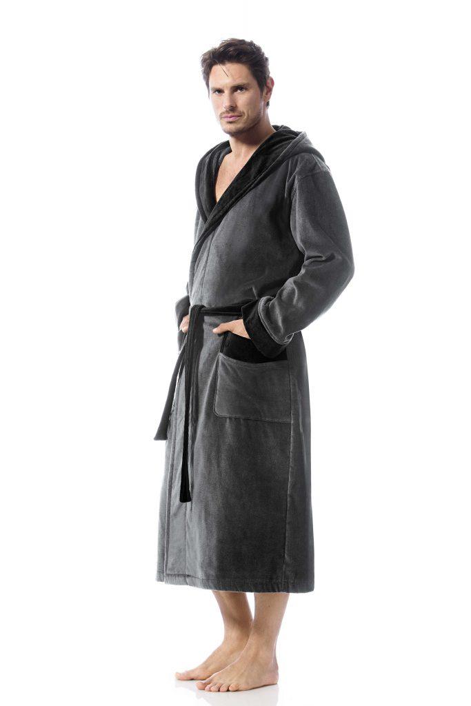Stoere herenbadjas met capuchon, grijs met zwart van Bugatti-0