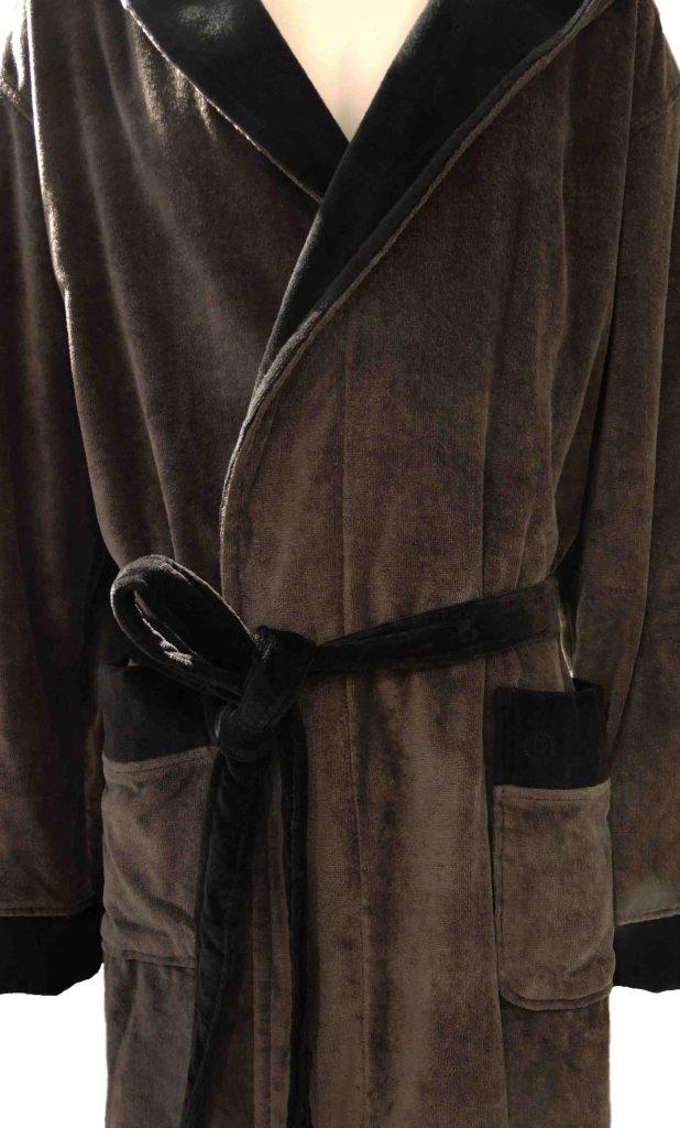 Stoere herenbadjas met capuchon, grijs met zwart van Bugatti-1367