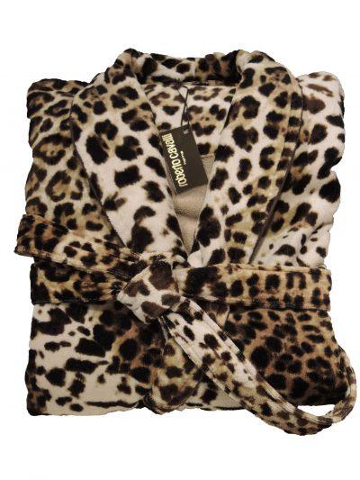 Luxe badjas met luipaardprint van Roberto Cavalli-0
