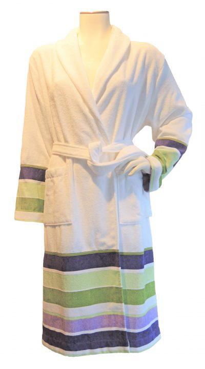 Luxe witte badjas met strepen van Luna di Giorno-0