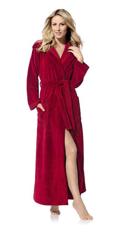 Extra lange rode damesbadjas met capuchon van Morgenstern-0