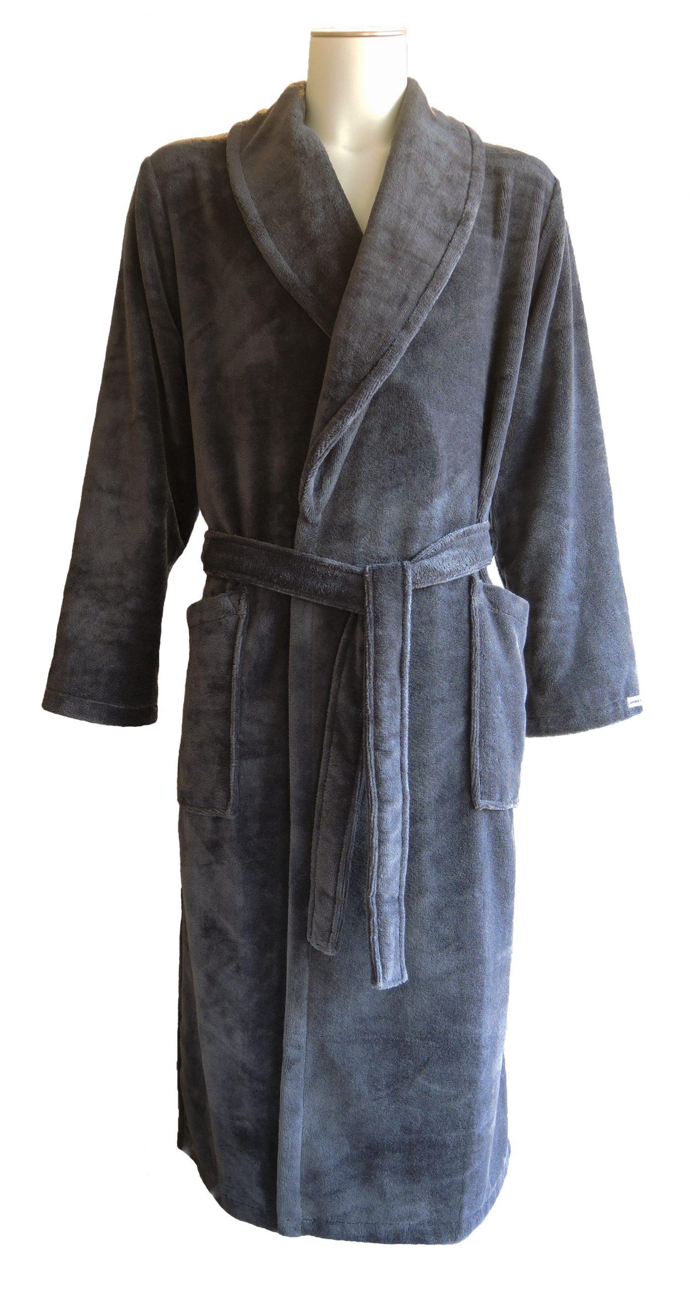 Antracietgrijze velours badstof herenbadjas met sjaalkraag van Taubert-0