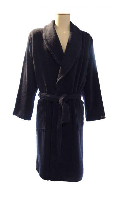 Zachte donkerblauwe badstof badjas met sjaalkraag van Taubert-0