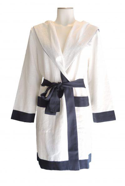 Luxe linnen badjas, kort model met capuchon van Luna Di Giorno -0