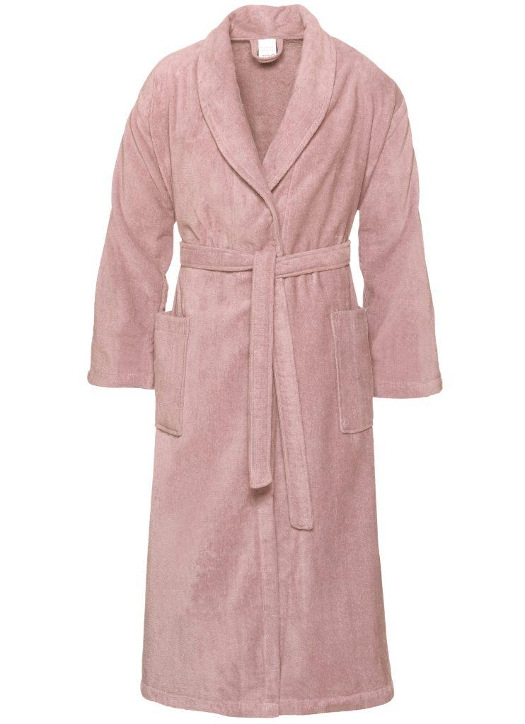 Pastelroze veloursbadstof badjas met sjaalkraag van Vandyck-0