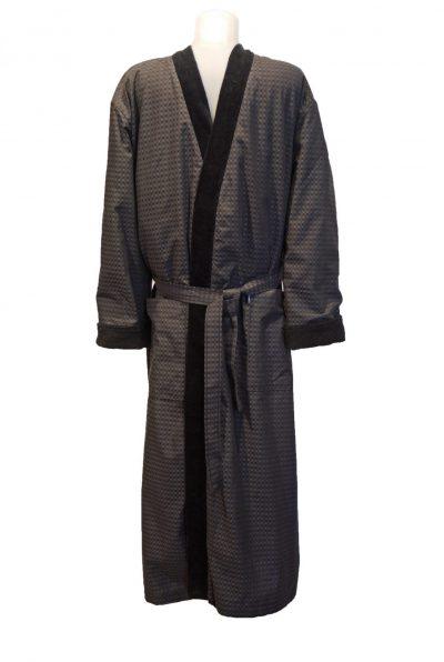 Gevoerde kamerjas van katoen voor heren, donkergrijs met zwarte badstof voering van Morgenstern-0