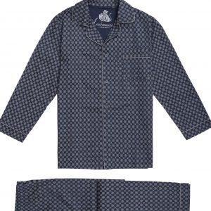 Klassieke donkerblauwe herenpyjama met zilvergrijs motief van Ambassador-0