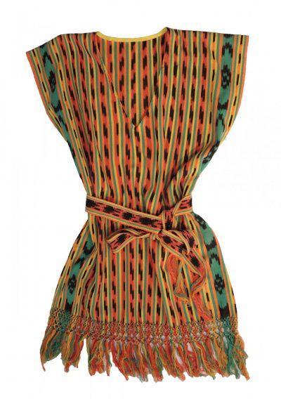 Kort zomerjurkje met ceintuur, oranje-geel-groen gestreepte ikat-0