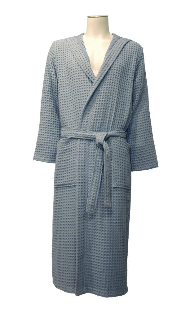 Zachte wafelbadjas met capuchon in grijsblauwe kleur van Taubert-0