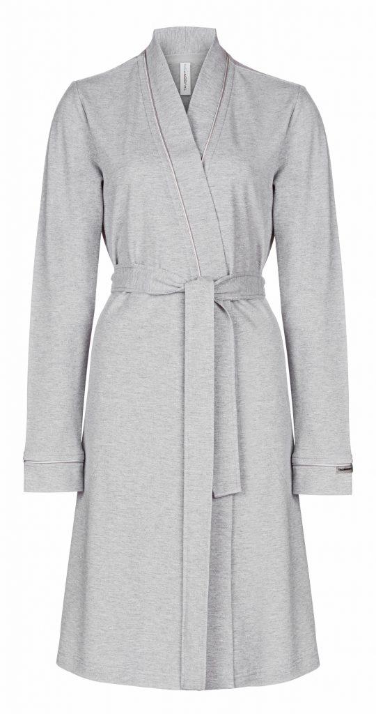 Sportieve korte kimono van dunne zilvergrijze katoen van Taubert-0