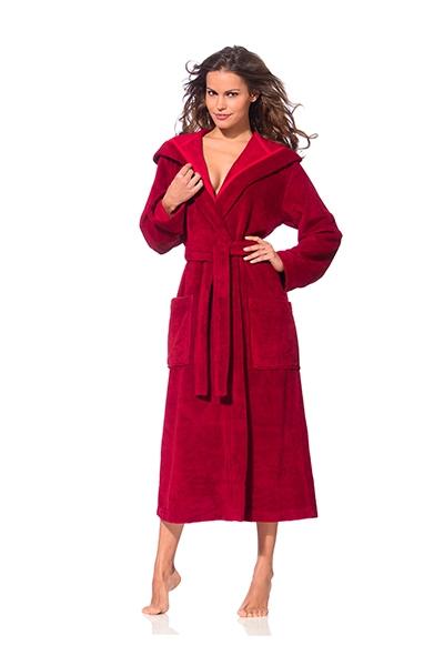 Zachte rode damesbadjas met capuchon van Morgenstern-0