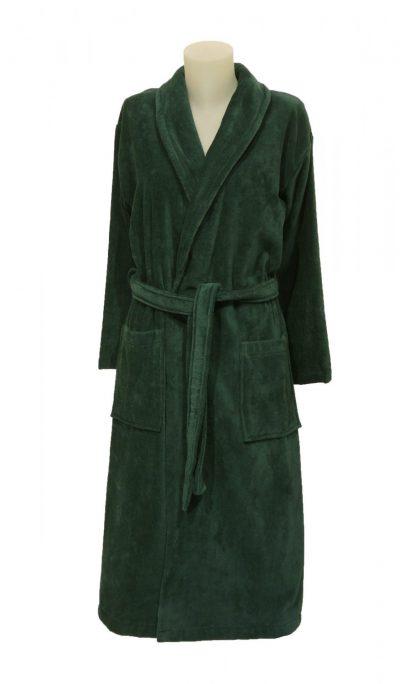 Luxe badjas met sjaalkraag in diep groenblauwe kleur van Vandyck-0
