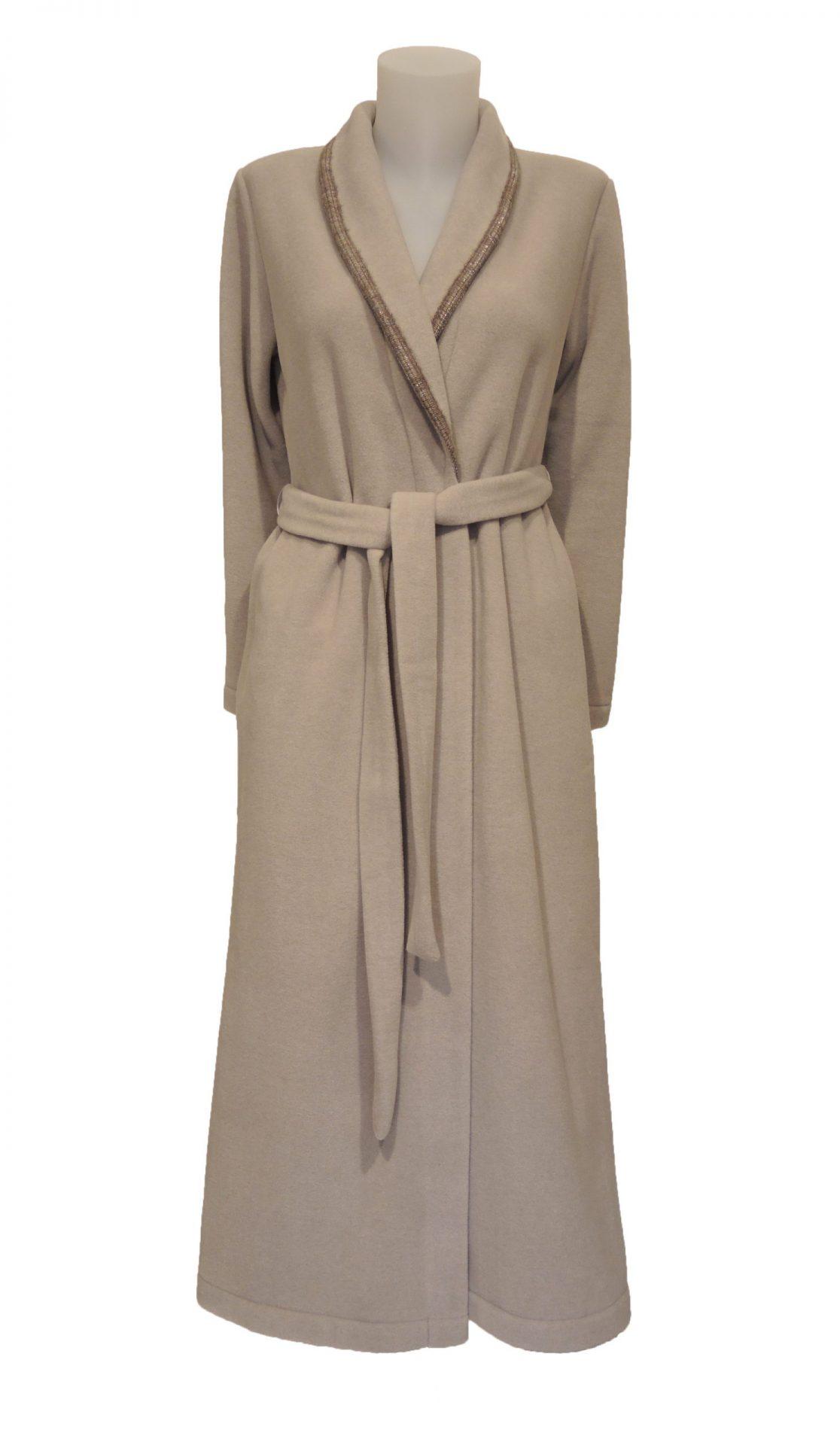 Beige fleece ochtendjas voor dames van Iora -0