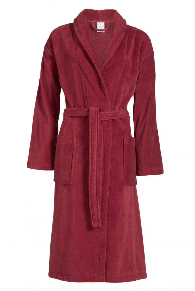 Donkerrode badjas van velours badstof met luxe kraag van Vandyck-0