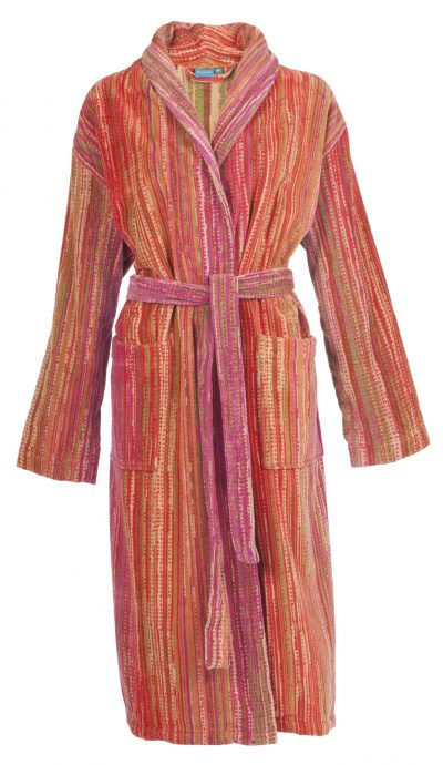 Luxe badjas met streepjesdesign in diverse warme tinten van Elaiva-0