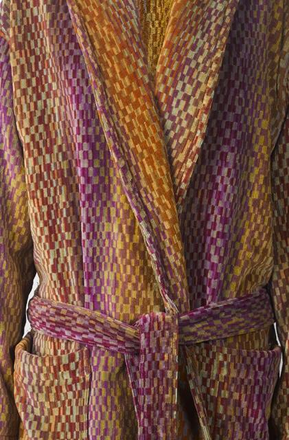 Luxe badjas voor dames en heren, met deco design in aardetinten van Elaiva-1908