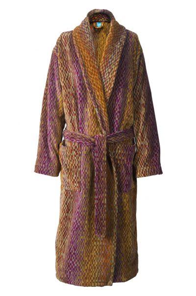 Luxe badjas voor dames en heren, met deco design in aardetinten van Elaiva-0