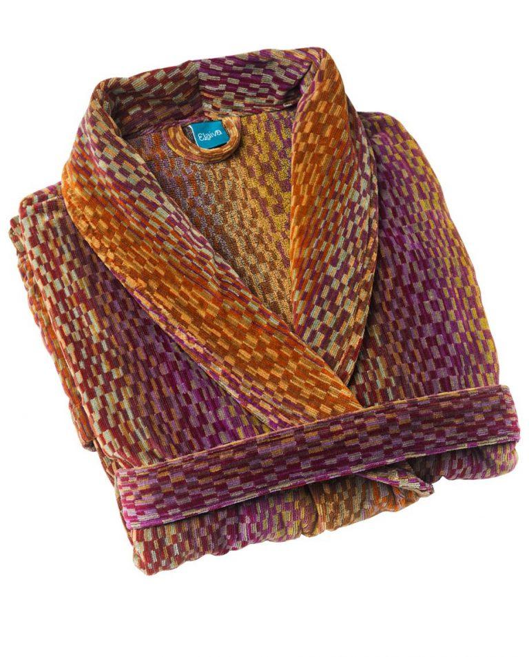 Luxe badjas voor dames en heren, met deco design in aardetinten van Elaiva-1909