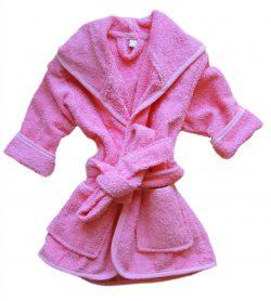 Klein effen roze badstof babybadjasje-0