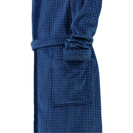 Blauwe herenkamerjas met blokjespatroon kimonomodel van Cawö-1961
